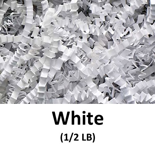 Crinkle Cut Paper Shred Filler (1/2 LB) for Gift Wrapping & Basket Filling - White | MagicWater Supply (Gift Basket Basket)