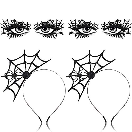 Halloween Eyeshadow Tattoos (2PCS Halloween Spider Headband+ 2PCS Halloween Face Tattoo,Aniwon Black Spider Web Headband Party HeadbandHair Hoop with Spider Temporary Face Tattoo Transfer Eyeshadow Tattoo Sticker for)