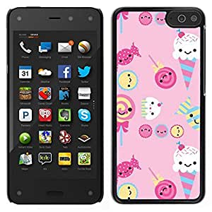 // PHONE CASE GIFT // Duro Estuche protector PC Cáscara Plástico Carcasa Funda Hard Protective Case for Amazon Fire Phone / ice cream candy pink sweets lollipop /