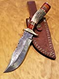 Handmade Deer Antler Handle Hunting Knife Damascus Blade Stag Collection With Leather Sheath Premium (A209)