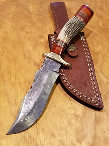 Handmade Deer Antler Handle Hunting Knife Damascus Blade Stag Collection With Leather Sheath Premium (A209) by Artisan Bound