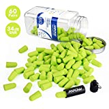 Mpow 055A Ear Plugs 60 Pairs, Super Soft Foam Ear Plugs 34dB SNR, Noise Reduction Hearing Protector, with Aluminum Carry Case, for Sleeping, Woodworking, Shooting, Travel, Loud Events
