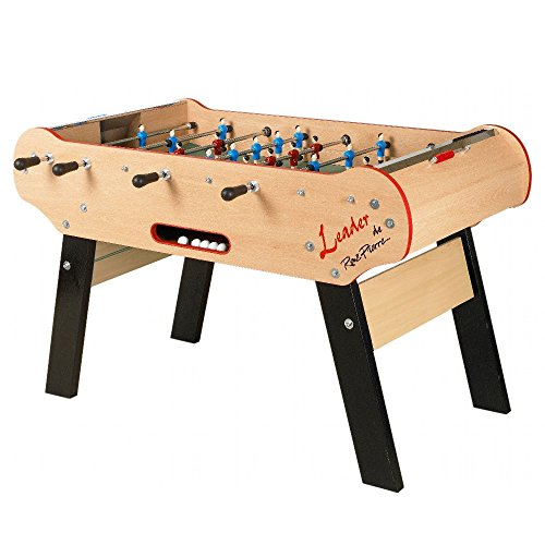 Smooth, wooden foosball table with ergonomic handles.