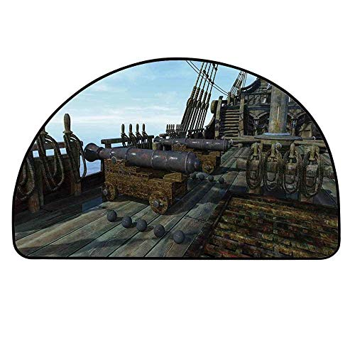 YOLIYANA Military Entry Mat Rugs,Deck of Old Fashion Vintage Wooden Cannon Warship Naval State Force for Front Door,25.9