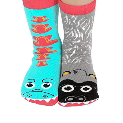 Giant Gorilla & Mutant Lizard Frenemy Monster Pals Mismatched Fun Cool Socks for Kids Boys Girls with Nonskid No Slip Grips (Age ()