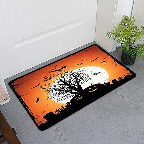 TableCovers&Home Dog-Cat Mat, Vintage Halloween Custom Doormats for Bedroom, Grunge Halloween Image with Eerie Atmosphere Graveyard Bats Pumpkins (Orange Black, H20 x W32)