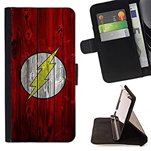 DEVIL CASE - FOR Sony Xperia Z1 L39 - Lightning Bolt Superhero - Style PU Leather Case Wallet Flip Stand Flap Closure Cover