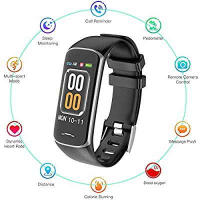 WELTEAYO Fitness Tracker, Activity Tracker Watch with Heart Rate Monitor, Smart Watch with Message Reminder and Step Counter, Smart Bracelet with Blood Pressure and Sleep Monitor, IP67 Waterproof