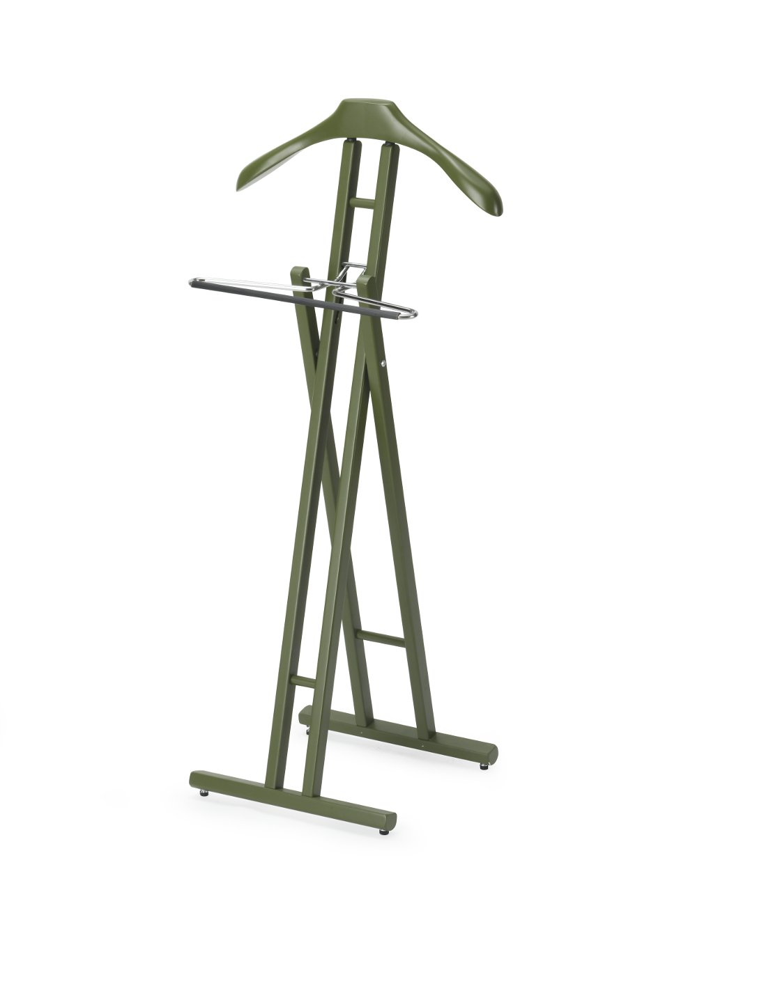 ARIS KLAPP - Folding Valet Stand in Solid Beech Wood -Handcrafted in Italy - Camouflage Green Finish 371 VR