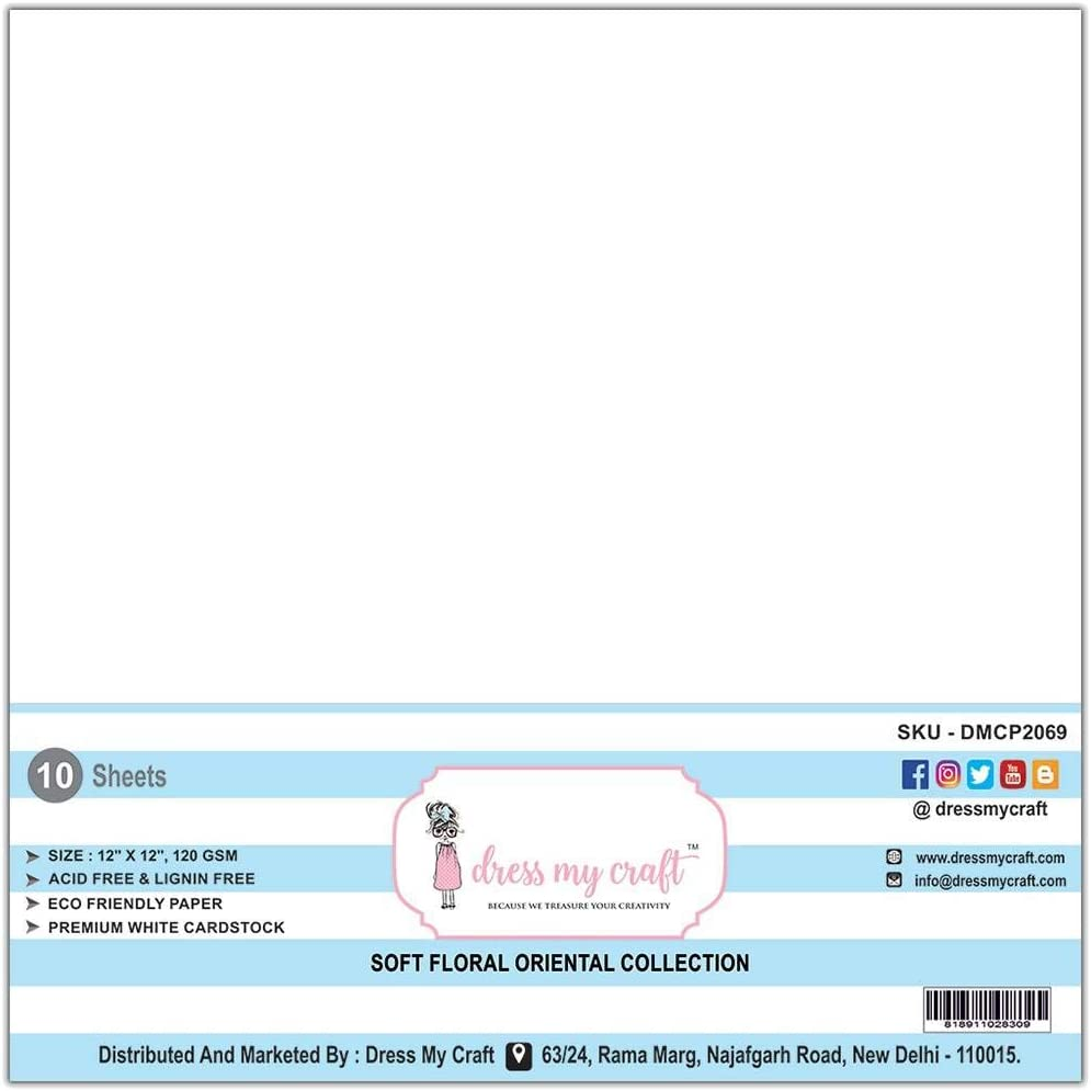 Dress My Craft DMCP2069 Flower Making Specialty Paper 12X12 10//Pkg-White Smooth