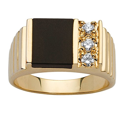 t Genuine Black Onyx and CZ Accent 14k Yellow Gold-Plated Classic Ring ()