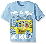 Sesame Street this is how we roll! short sleeve t-shirt - featuring bus driver grover, bert, ernie, elmo, and big bird all riding the school bus together
