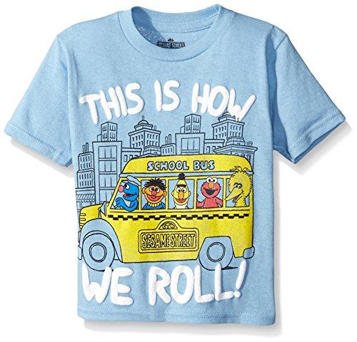 Sesame Street Little Boys' Toddler Short Sleeve T-Shirt, Sky Blue, 2T