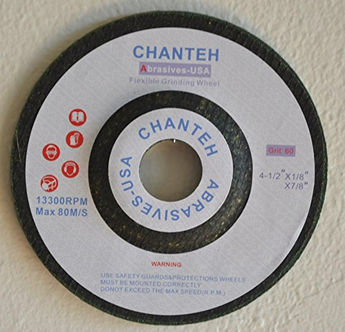 "4-1/2"" X 1/8"" X 7/8"" Flexible Grinding Wheel 60 Grit Green Disc - 25 Pack"