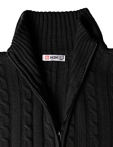 H2H Mens Casual Knited Cardigan Zip UP with Twisted Pattern Black US S/Asia XL (KMOCAL017) by H2H (Image #4)