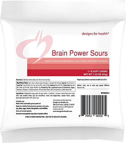 Designs for Health Brain Power Sours GPC Choline + L Tyrosine for Kids & Adults (80 Chews)