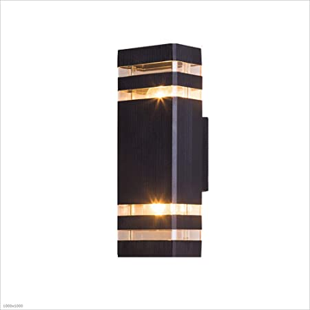 HJZY Moderno Aplique Porche luz Impermeable lámpara de Aluminio con acrílico E27 Arriba/Abajo luminaria Exterior luz Mate Negro Pintado Villa Piscina Patio terraza Puerta Post Pared Farol: Amazon.es: Hogar