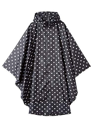 Unisex Rain Ponchos Waterproof for Adults Rain Coat Jacket Reusable Windbreak Rainproof Jacket for Womens Cute Raincoat Outdoor with Zipper Hooded Bike Rainwear Black and White Polka Dot