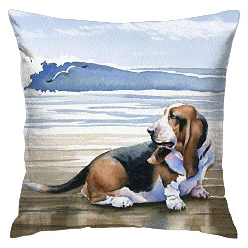Love fled Basset Hound Square Throw Pillow Covers Set Cushion Cases Pillowcases18x 18nches