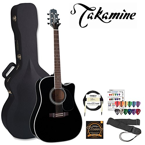 Takamine JB-EF341SC-Q1-KIT Pro Series Gloss Black Acoustic Electric Guitar Kit with Takamine Hard Case, ChromaCast Strap, Cable, DAddario EJ16 Strings and ChromaCast/GO-DPS 16 Pick Sampler