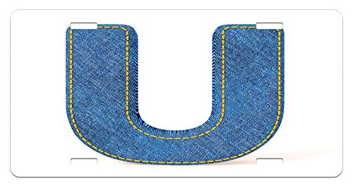 Letter U License Plate by Ambesonne, Denim Letter Alphabet Design with Realistic Looking Fabric Texture Stitches Image, High Gloss Aluminum Novelty Plate, 5.88 L X 11.88 W Inches, Blue Yellow (Stitch Texture)