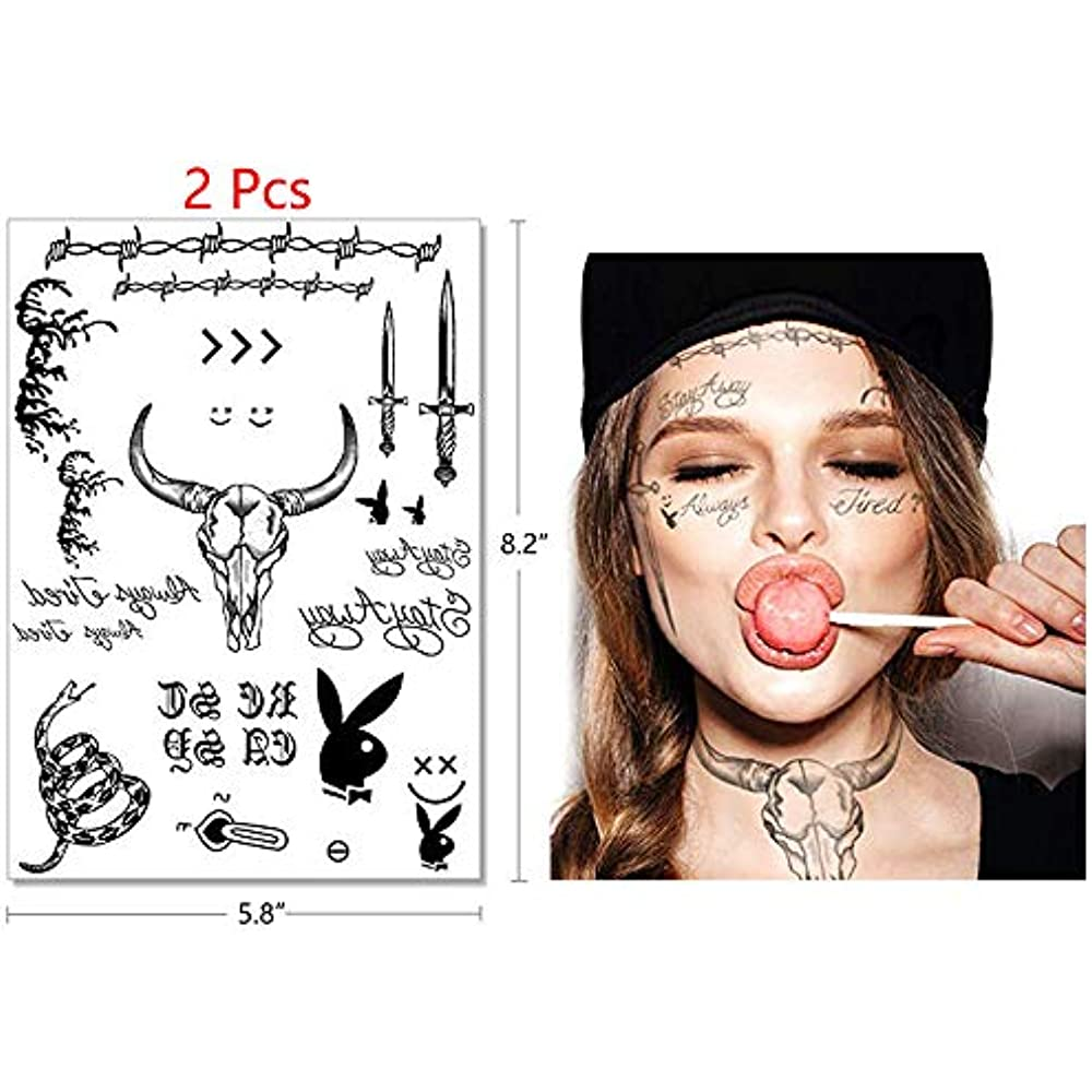 Post Malone Cleaned Up: Post Malone Tattoos Set 4 Sheets Halloween Face For Adults