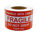 """Hybsk 2""""*3"""" Do Not Drop Thank you Fragile Stickers Adhesive Label 300 Per Roll"""