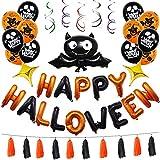 Huhuswwbin Happy Halloween Foil Balloon Bat Spiral Strap Letter Festival Home Party Decor