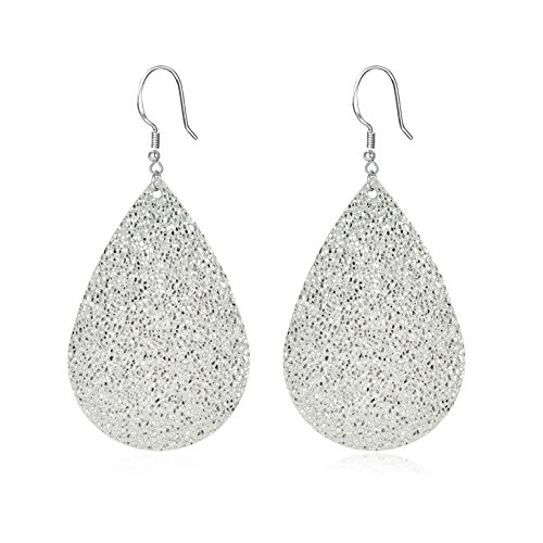 Unique Leather (Metallic Genuine Leather Teardrop Earrings Handcrafted Unique Sparkling Jewelry for Women Silvertone)