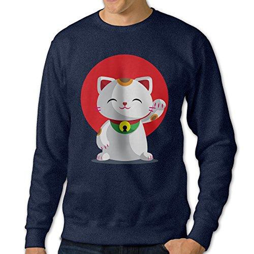 ALIPAPA Men's Long Sleeve Maneki Neko Lucky Cat Sweater - Navy Size -