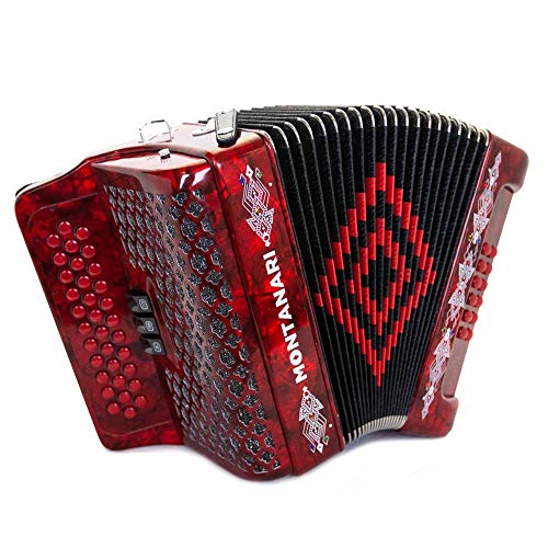 Acordeon Montanari 3412 3S Fa Rojo FBE Accordion -