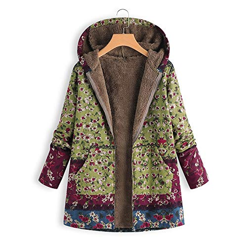 CUCUHAM Womens Winter Warm Outwear Floral Print Hooded Pockets Vintage Oversize Coats(Z2-Green,5X-Large -