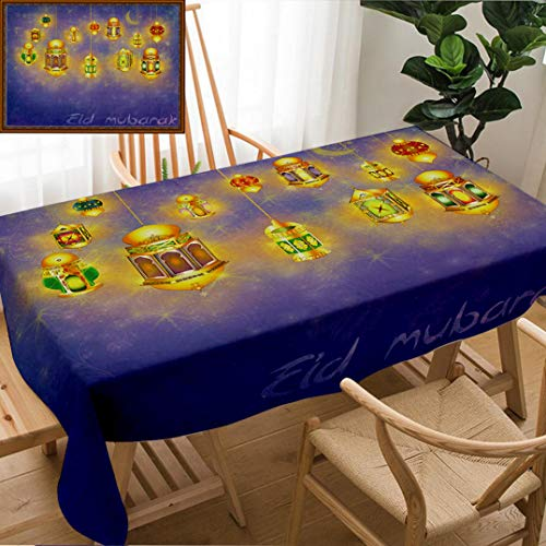 (Skocici Unique Custom Design Cotton and Linen Blend Tablecloth Islamic Muslim Holiday Blessing Background Or Greeting Card with Oriental Lamps and LanternsTablecovers for Rectangle Tables, 70