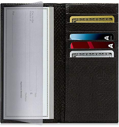Genuine Leather Checkbook Cover For Women & Men - Checkbook Holder Check Book Covers For Duplicate Checks Card Wallet RFID Blk Leather Like Cover