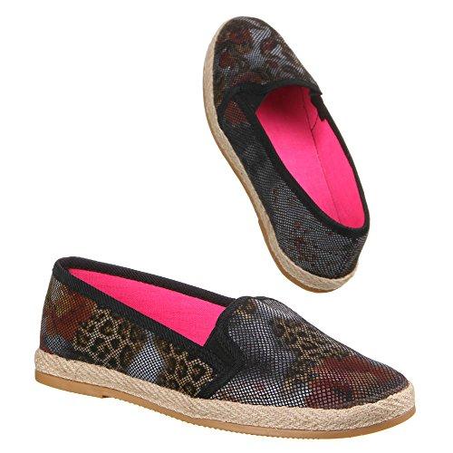 Ital-Design Damen Schuhe, 22-157, Halbschuhe Schwarz Multi