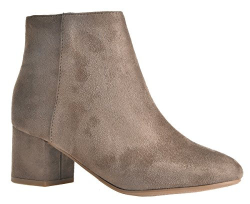 LUSTHAVE Womens Chunky Wrapped Kitten Low Heel Close Toe Suede Effect Ankle Bootie Boots With Side Zipper Trendy Fall Winter Heels Deep Taupe