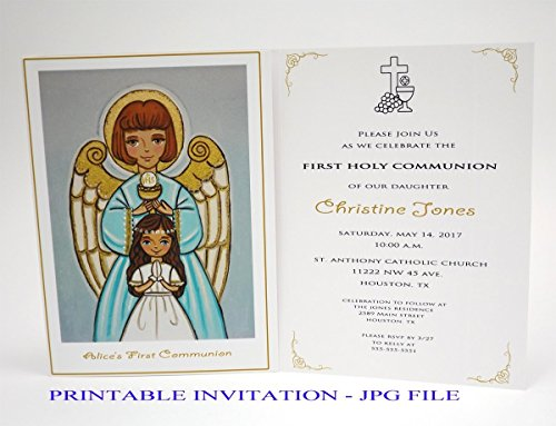 Printable Religious Invitations (Girl first communion invitation girl Guardian angel Girl first holy communion invitation girl Religious invitation girl First communion invites Spanish invitation First communion invitation printable)