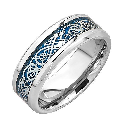 MRing 8mm White Titanium Blue Bottom Silver Dragon Celtic Pattern Ring Beveled Edges Celtic Rings Jewelry Wedding Band For Men (8) (Celtic Protection Ring compare prices)
