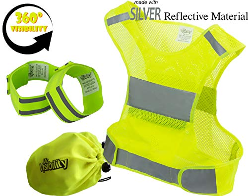 (Reflective Vest Running Gear | Reflector Bands + Bag | Made of Top Silver Reflective Tape High Visibility for Running, Cycling, Dog Walking | Safety Vest with Pockets, Adjustable & Ultralight, Size M)