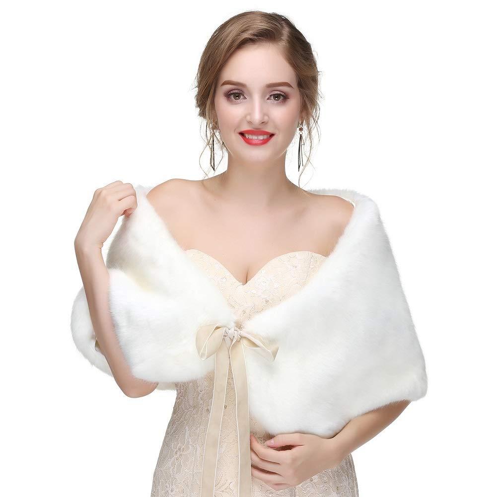 JudyBridal Women&Lady Bow tie Faux Fur Shawl Wrap For Evening Dresses
