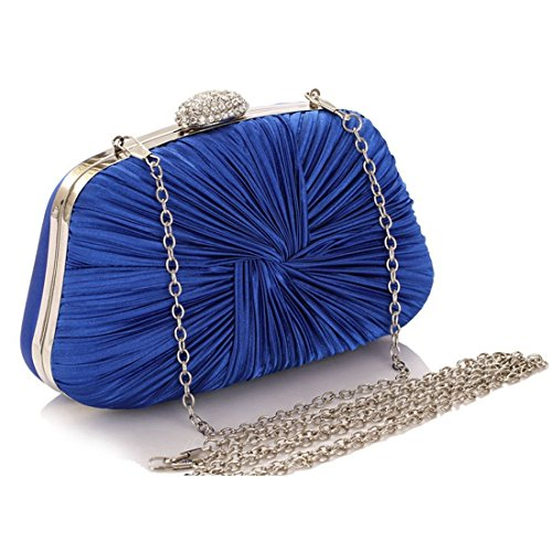 Bag Purse Clutch Women's Evening JESSIEKERVIN Handbag Pleated Blue Crossbody 46q6fP