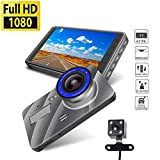 4' Dash Cam, Double Lens 1080P HD Car Recorder 170 Wide Angle Night Vision Dashboard Camera with G-Sensor, LED Flash, Loop Recording, 6G Lens, HDR, Mobile Detection
