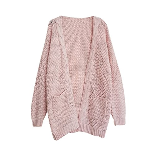 Veste Longues YOUJIA Pink Cable Jacket Femmes Macnhes avec en Pullover Tricot a Cardigan Sweater Gilet Pull Poche nTTYxHrq7w