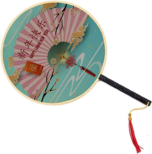 Ventilador de bendición navideña de estilo asiático Ventilador antiguo chino Ventilador de paleta de palacio clásico Ventilador de baile Ventilador de mano para niños Ventiladores de mano para mujere: Amazon.es: Hogar