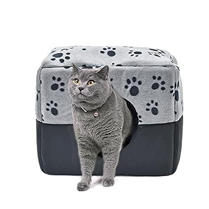 GR Cama de Mascota de Uso Doble Cama de Cubo de Perro Nido de Mascota para