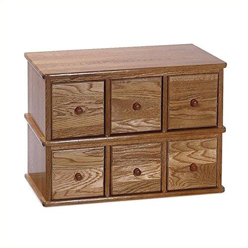 Pemberly Row 6-Drawer Deluxe CD Modular Storage Cabinet in Oak
