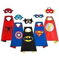 Smart Nice Costumes de Super-héros pour Bambini-5Cape et 5maschere- Cadeaux d'anniversaire–Costumes Carnaval Cape et Masques Jouets pour Enfants et Fillettes