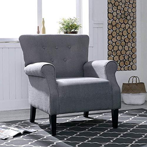 LOKATSE HOME Accent Armchair Single Sofa Modern Comfortable Furniture for Living Room, Club, Bedroom, Grey