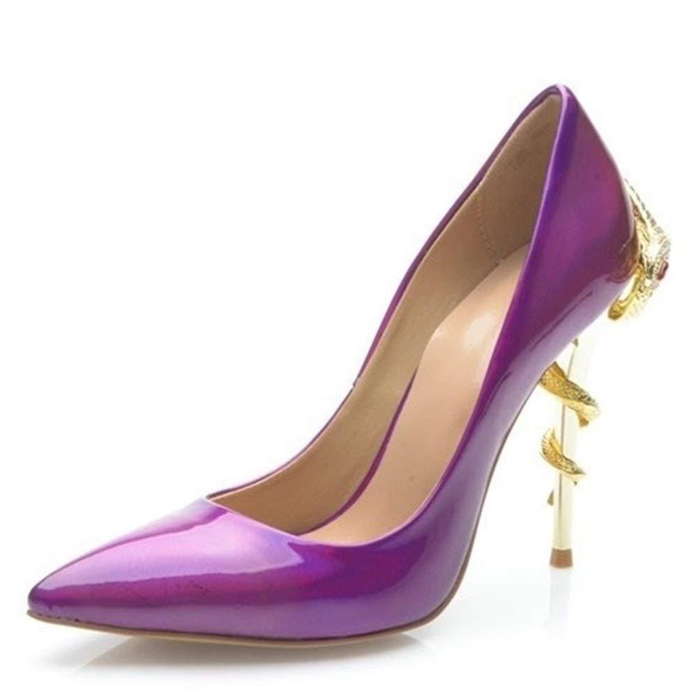 púrpura Vestido de la bomba, zapatos de novia Bombas de tacón alto para mujer Las sandalias formales Stiletto puntiagudo cuero genuino superior antideslizante Suelas de goma 10 cm decoración de tacón con serp