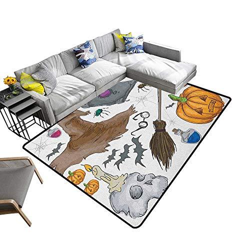 Halloween Non-Slip Floor mat Magic Spells Witch Craft Objects Doodle Style Illustration Grunge Design Skull 78
